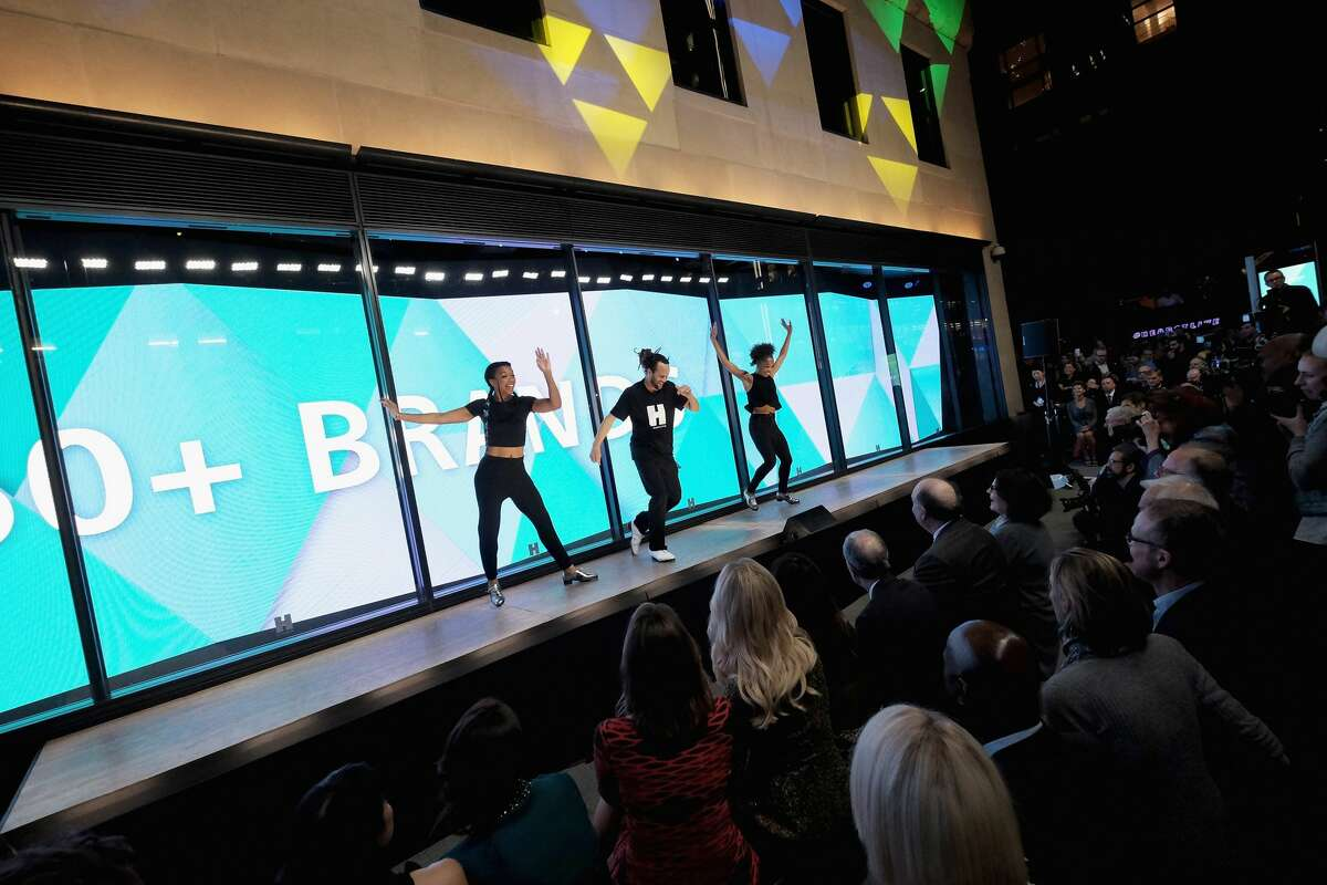 Tap dancer Savion Glover (C) performs with dancers onstage during the Hearst launch of HearstLive, a multimedia news installation, at 57th Street & 8th Avenue on September 27, 2016 in New York City. (Photo by Michael Loccisano/Getty Images for Hearst)