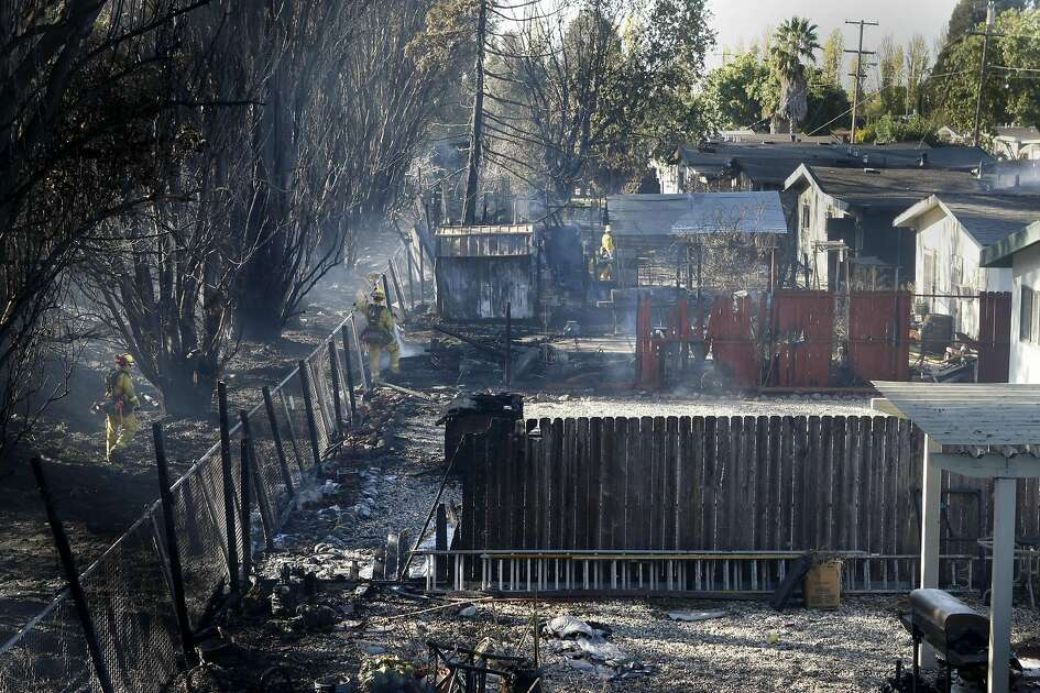 The back yards of several Petaluma, Calif. homes burned from the eucalyptus trees on Stuart Street. Several houses were destroyed by fire in Petaluma, Calif. when a wind whipped fire storm brought on by burning eucalyptus trees closed highway 101 Tuesday September 27, 2015