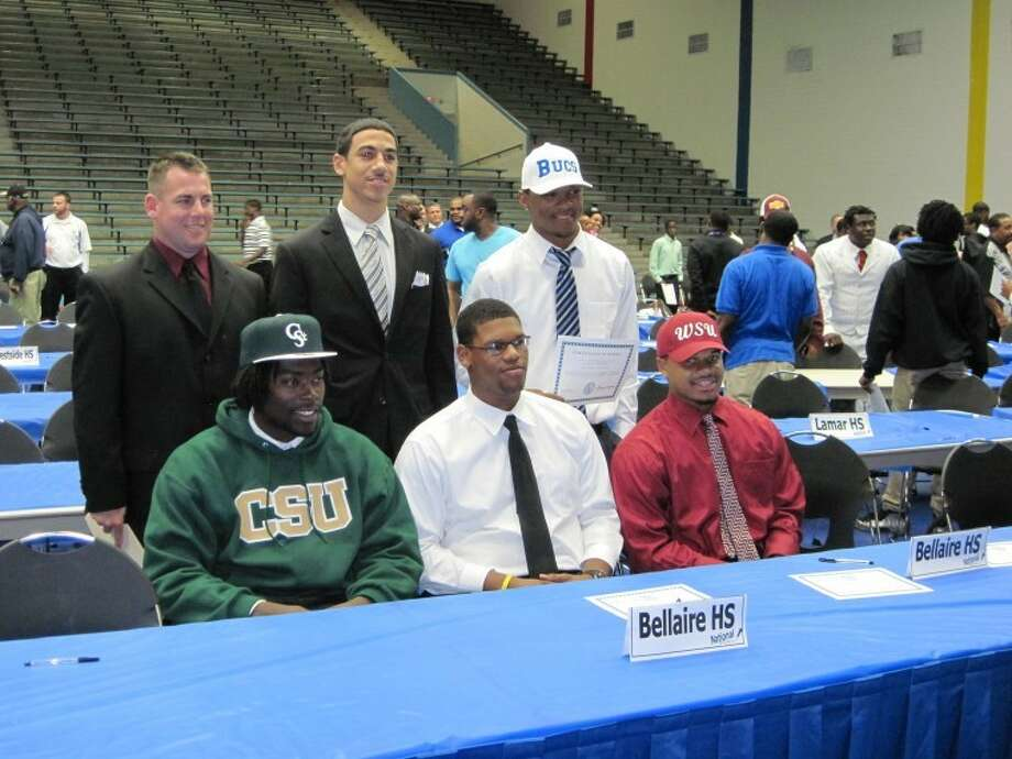 Following one of its most impressive recent seasons the Bellaire football team had seven celebrating signing day Wednesday at Delmar Fieldhouse. Brett Jordan (Colorado State), Daniel Haskins (Incarnate Word), Denzell Johnson (Blinn College), Isaiah Stevens (Tyler College), Keith Ewing (Washington State), Melvin McAdams (Tyler College) and Sean Allison (Midwestern State) will play in college.