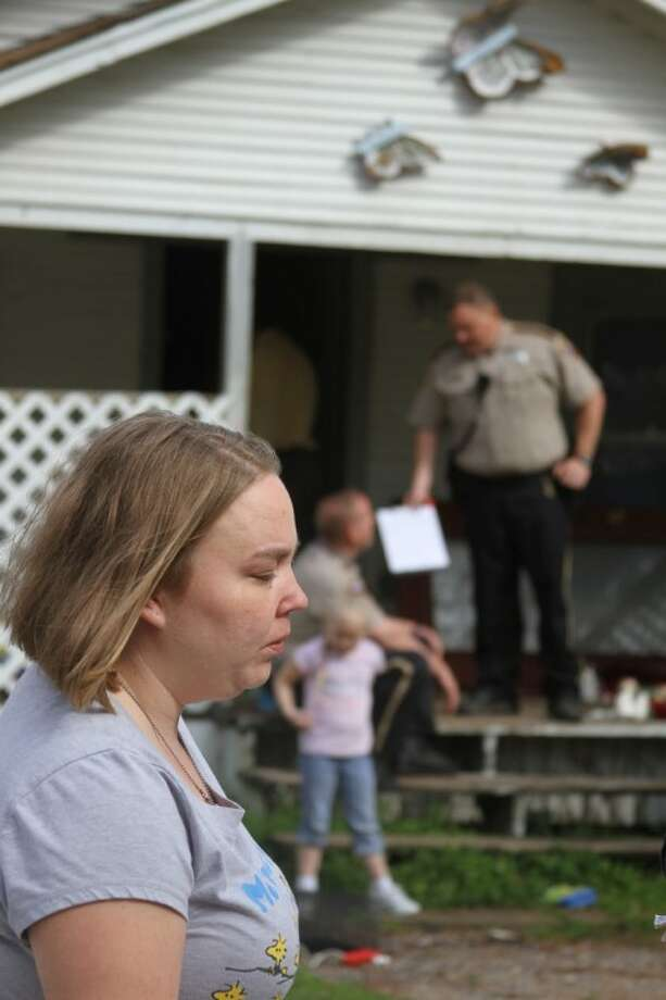 Holly Burbank talks about her reaction to seeing her home after a pair of convicted felons ransacked her home in Liberty County off North CR 328 on Feb. 3. The people people found occupying the house have been arrested for Possession of a Controlled Substance and Burglary, and had their paroles revoked.