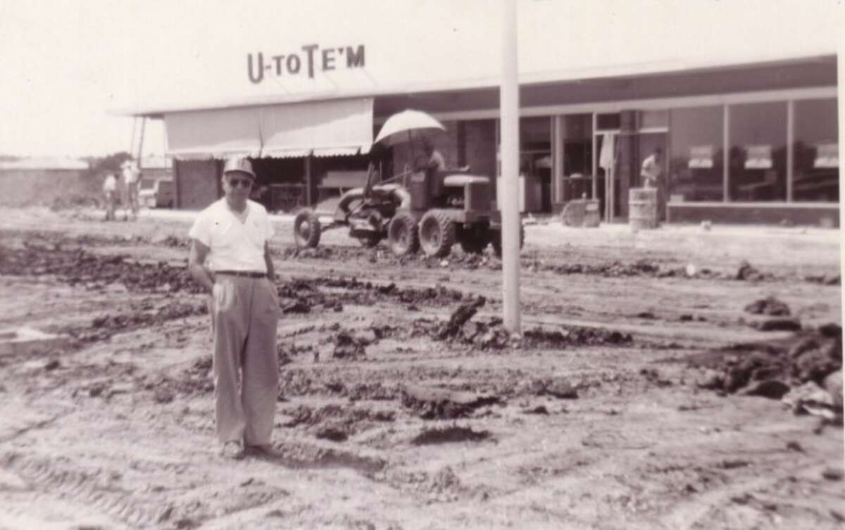 LeRoy Melcher in front of the shopping center he built on San Felipe in the 1950s to anchor one of his U-Tote-M stores.