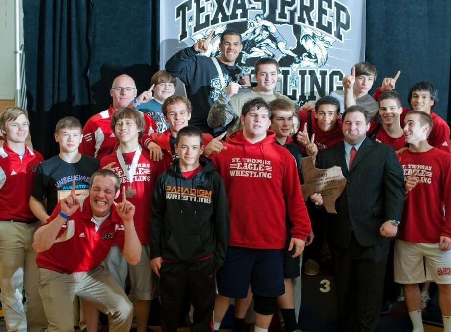 The St. Thomas High School wrestling team won the TAPPS 5A state championship. Photo: Kevin B Long/GulfCoastShots.com