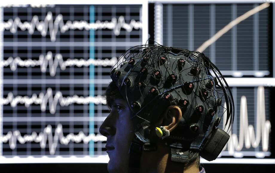 Dolby scientist Evan Gitterman watches a film while having his biological responses monitored in the Biophysical Lab at the Dolby Laboratories in San Francisco, Calif., on Tuesday, September 27, 2016. Photo: Carlos Avila Gonzalez, The Chronicle