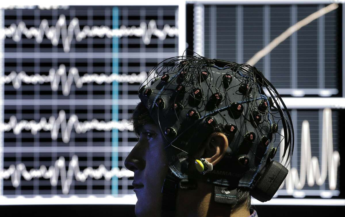 Dolby scientist Evan Gitterman watches a film while having his biological responses monitored in the Biophysical Lab at the Dolby Laboratories in San Francisco, Calif., on Tuesday, September 27, 2016.