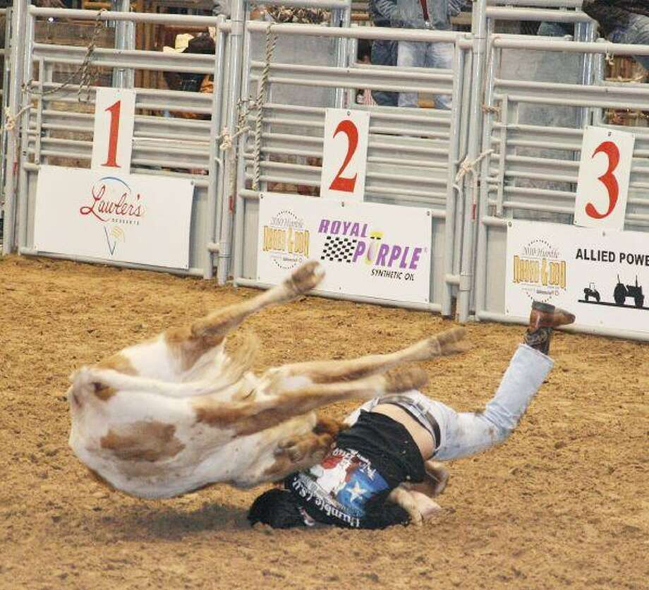 An area FFA student goes down trying to wrestle a calf for the chute dogging competition at the Humble Rodeo and Concert Feb. 12 and 13.