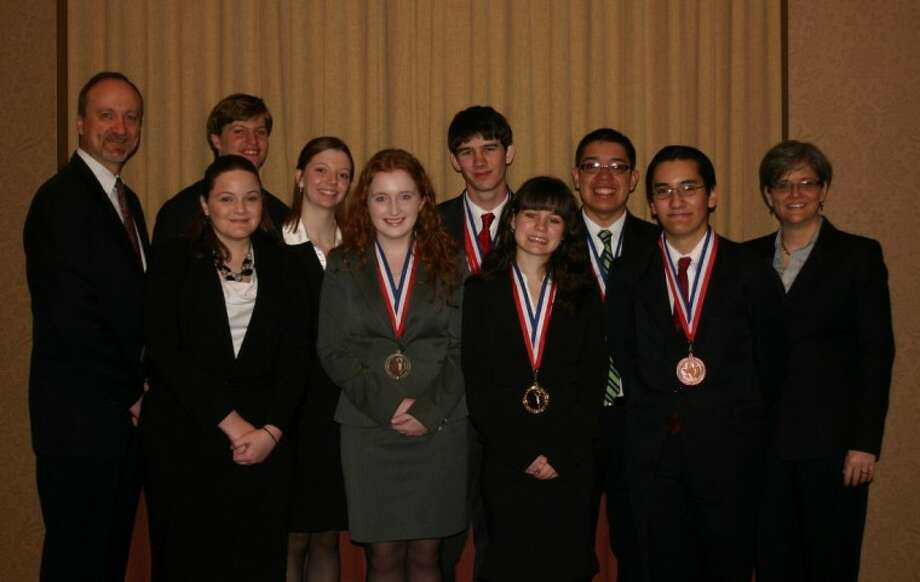 New Caney's Academic Decathlon team placed fifth at the State Finals. This year's all-senior team includes Angel Fuhre, Darah Vann, Casey O'Hare, Gilberto Ramirez, Edgar Garcia, Jesse Johnson, Amber Yates and Tim Orr. Outstanding coaching was provided by Lauri Stephenson, Courtney Ieva and Jim Moore.