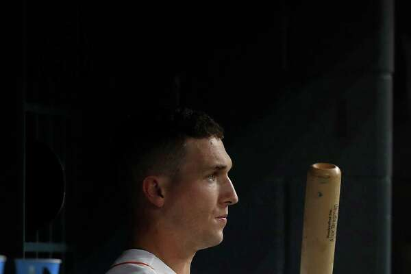 Houston Astros Alex Bregman (2) prepares to bat during the sixth inning of an MLB game at Minute Maid Park, Tuesday, Sept. 27, 2016 in Houston.