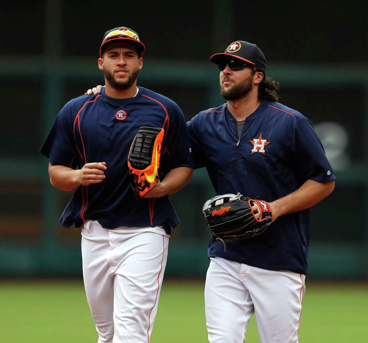 Houston Astros George Springer (4) and Jake Marisnick (6) during batting practice before the start of an MLB game at Minute Maid Park, Tuesday, Sept. 27, 2016 in Houston.