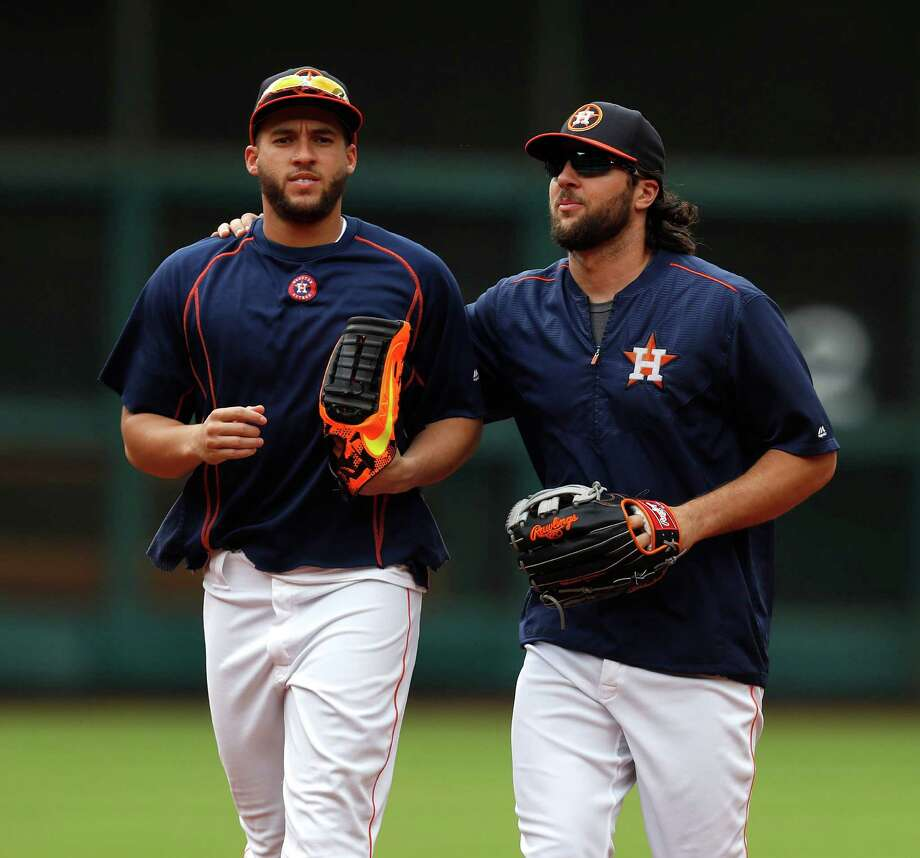 Houston Astros George Springer (4) and Jake Marisnick (6) during batting practice before the start of an MLB game at Minute Maid Park, Tuesday, Sept. 27, 2016 in Houston. Photo: Karen Warren, Houston Chronicle / 2016 Houston Chronicle