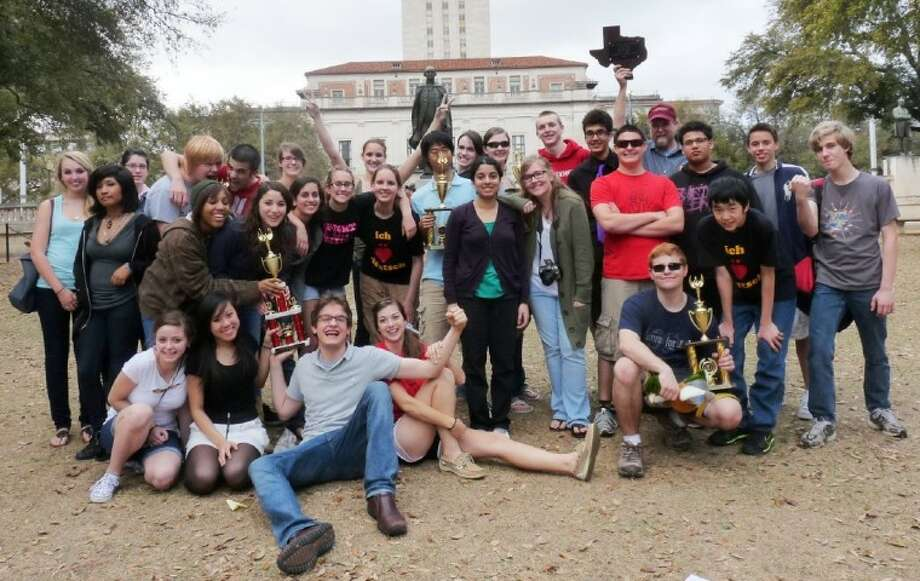 Bellaire High's victorious German students show off their trophies in Austin.