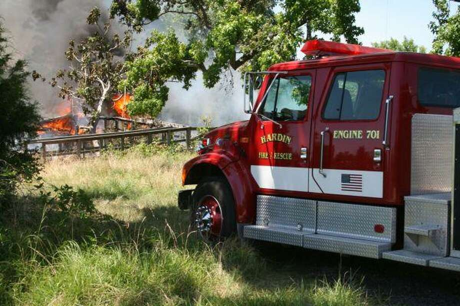 Hardin Volunteer Fire Department answered the fire call. Since the fire occurred in an area without hydrants, water had to be brought to the scene in tankers.