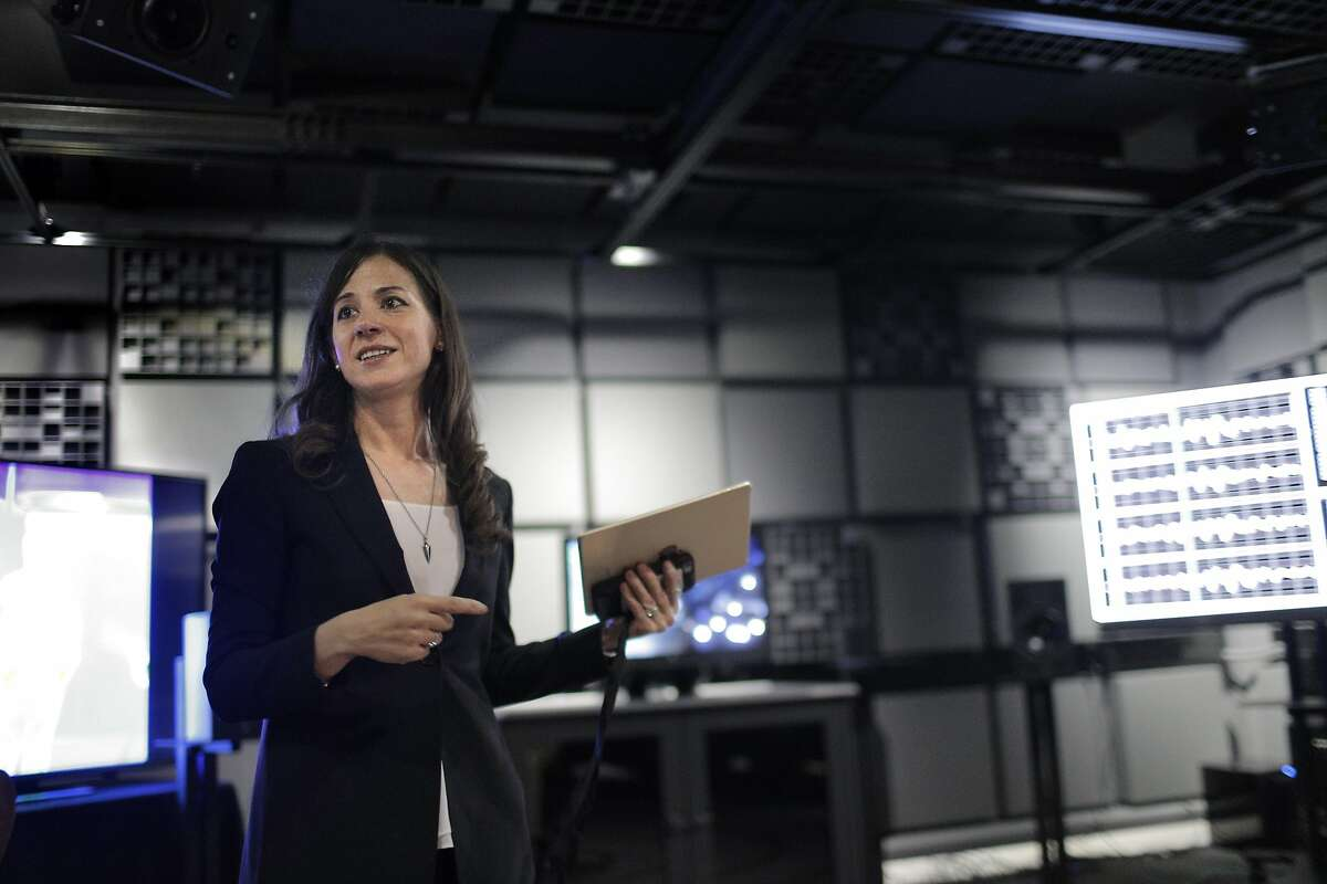Poppy Crum, head scientist at the Dolby Laboratories in San Francisco, Calif., talks about Biophysical Lab at the company on Tuesday, September 27, 2016.