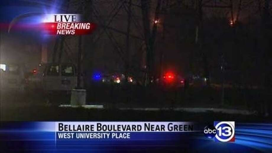 Law enforcement swarmed the scene of a train-car collision between West U and Bellaire Thursday night. Photo: ABC-13