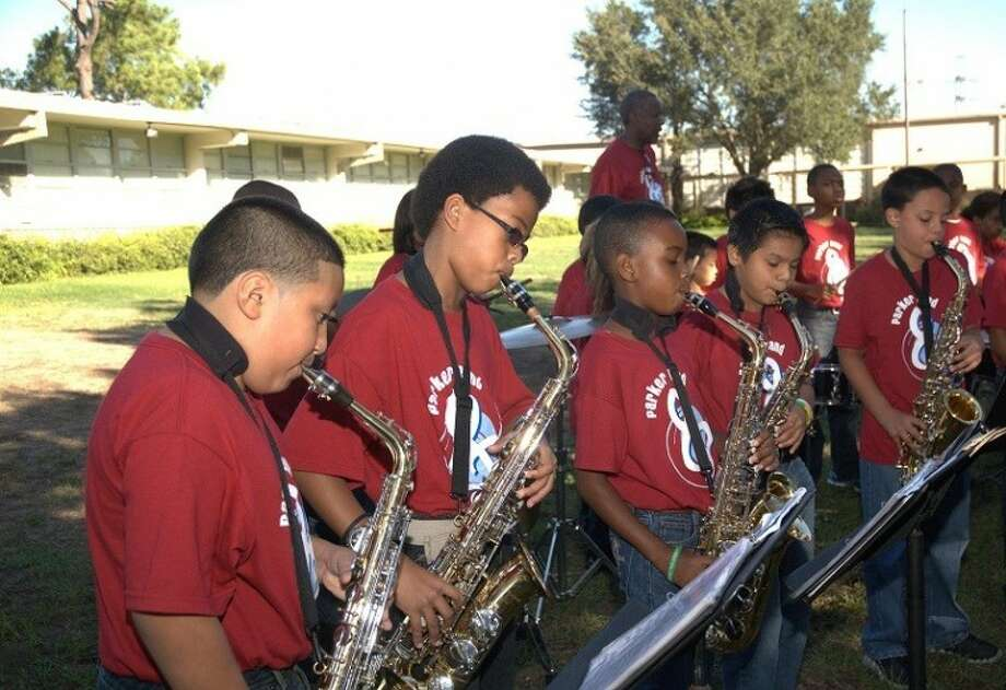 "Parker Elementary School Band members tune up in preparation for Willow Waterhole Greenspace Conservancy ""Sunday Music in the Park"" music series scheduled for Sunday, Feb. 19. (Photo courtesy of Parker Elementary Band)"