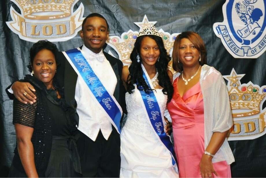 Ladies Ka'Shonda Hurst, left, Top Teen advisor, and Dr. Kimberly Agnew Border, TLOD president, congratulate Alexander Douglas and Heidi Friar, Mr. and Miss Top Teen-Lake Houston Chapter.