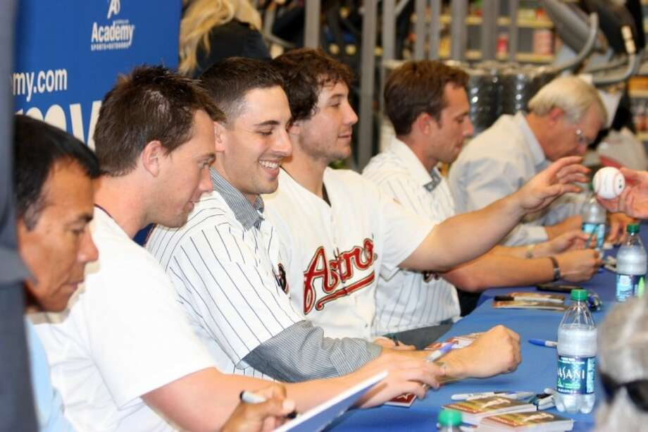 Members of the Houston Astros, accompanied by Junction Jack, signed autographs at the Academy store in Katy near Interstate 10 and Highway 99 Friday afternoon.