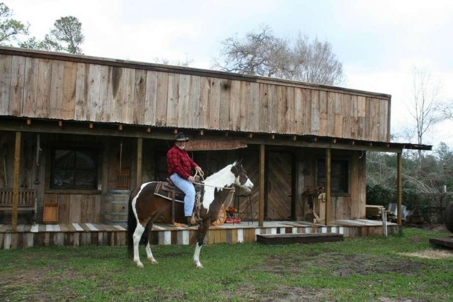 David Harrison, owner of Oak Hollow Equestrian Park and a retired horse trainer, offers a Western general store set for an hourly rate as a photo shoot location.