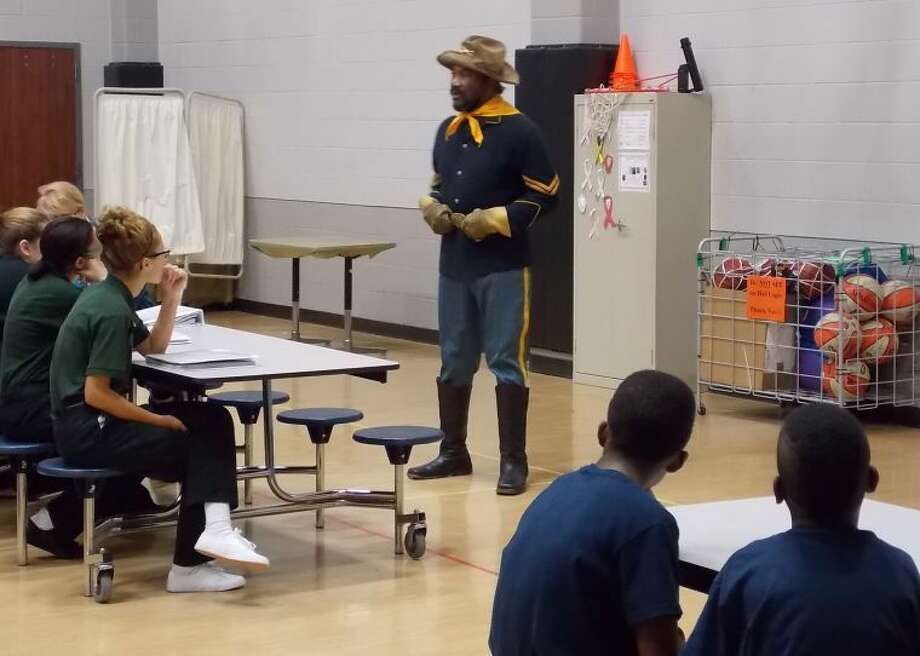 Faulkner is shown during his Buffalo Soldier re-enactment at M.R. Wood. Photo: Submitted Photo