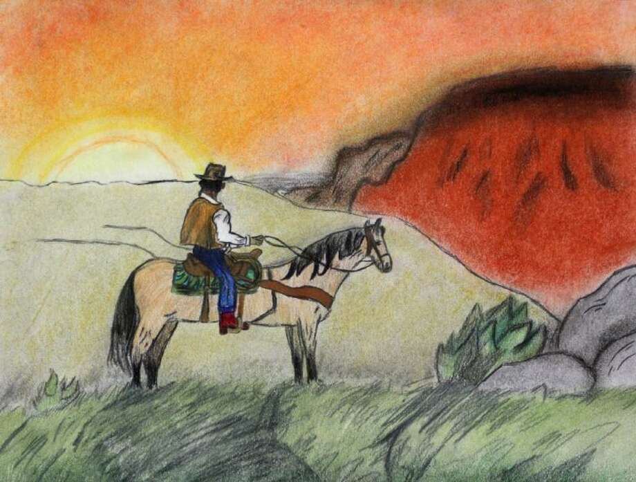 """Cowboy at Sunset"" by Challenger Elementary student Darryl Smith won best of show during rodeo art judging Jan. 16. Photo: Courtesy Pearland ISD"