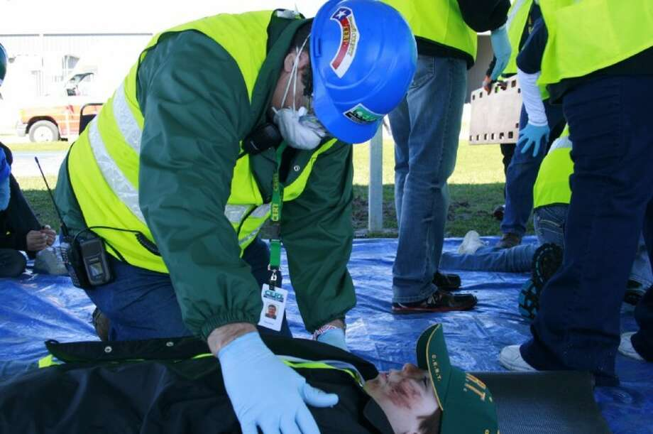 CERT members go through the first aid simulation during the sixth annual CERT Rodeo Feb. 11.