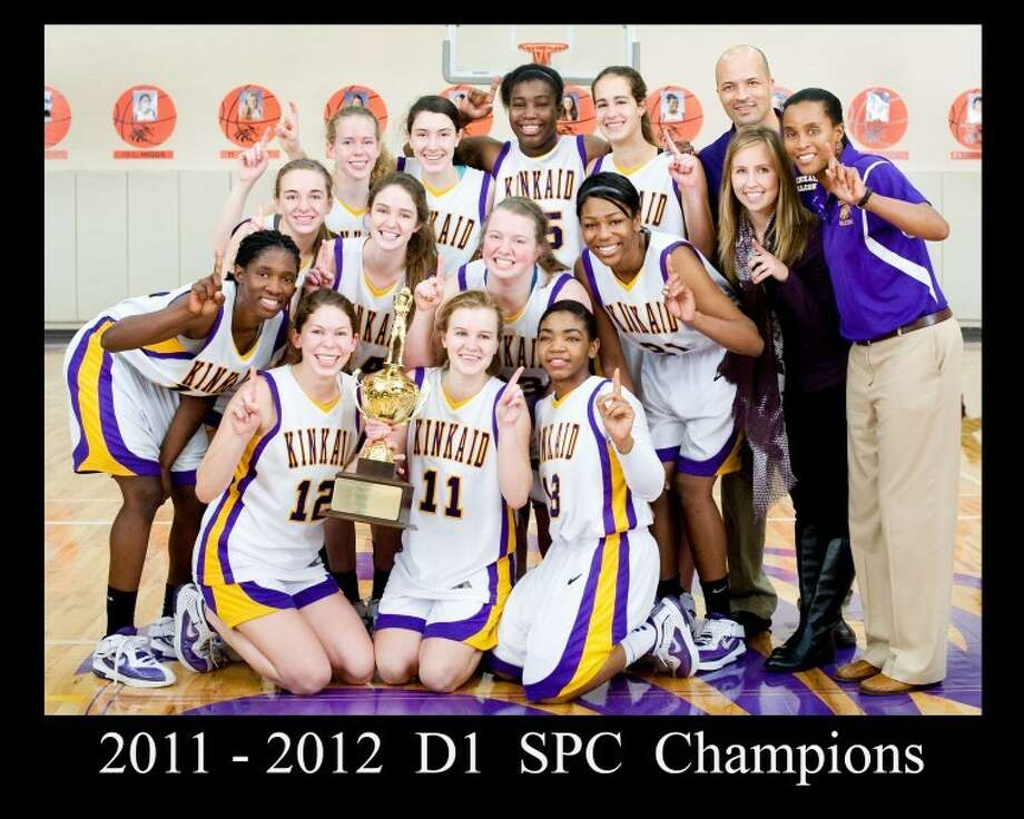 The Kinkaid School girls basketball team celebrates its Southwest Preparatory Conference championship Saturday at Kinkaid. The Lady Falcons defeated rival St. John's 48-44 to finish 10-0 in SPC play. Photo: David Shutts/GulfCoastShots.com