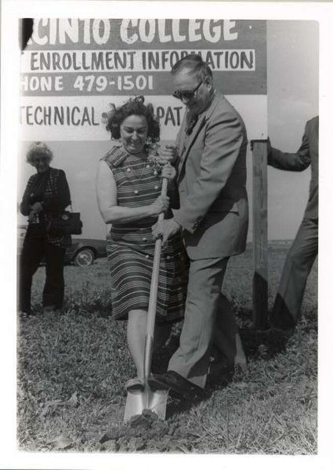 Parker Williams, then vice president of administrative affairs for San Jacinto College; and the late F.G. Anders, a longtime member of the Board of Regents, at a groundbreaking ceremony a year before the opening of the South campus in 1979. Williams would later become the campus' first president.