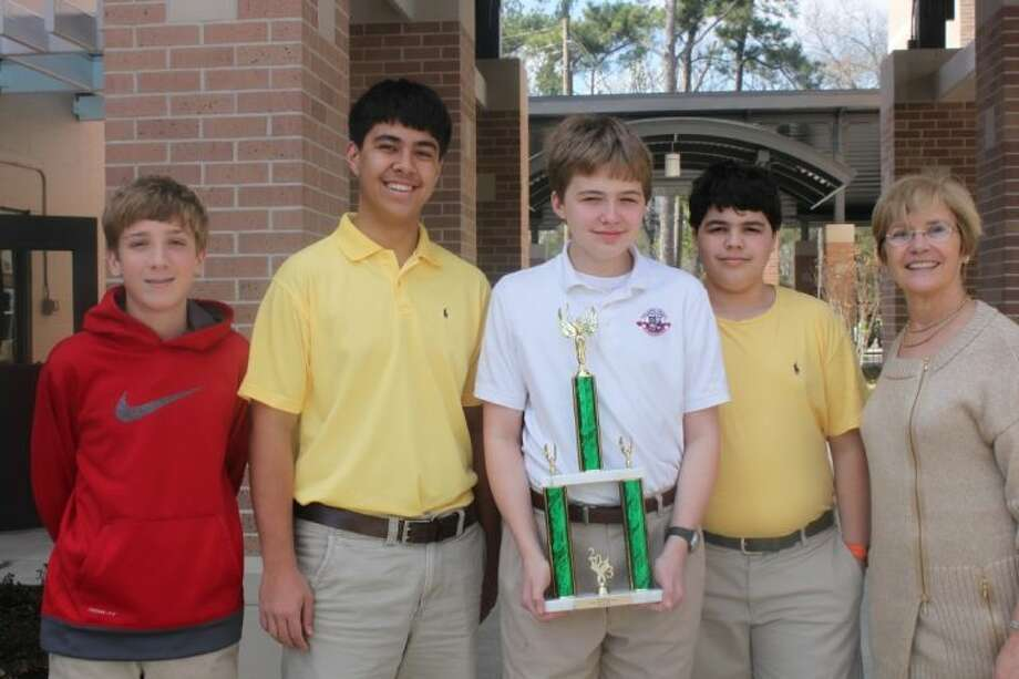 Regis Prep Bowl Team, from left: Michael Jakab, Samuel Samson-Williams, Will Smith, Briggs Weathington, and Anne-Marie Zehawi, Middle School faculty. Photo: Submitted