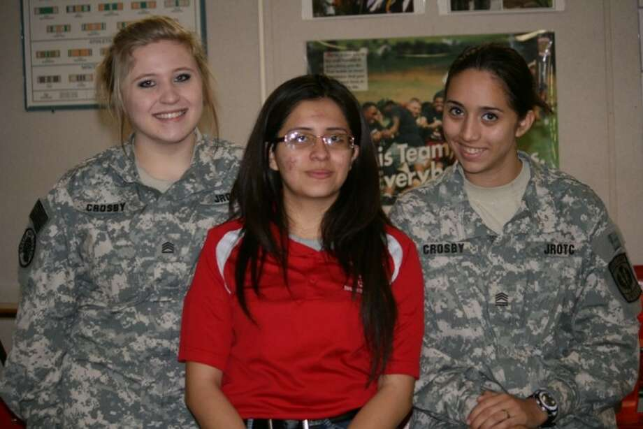 The Crosby High School JROTC Leadership Team composed of, from left, Mia Burleigh, Nancy Garcia, and Leslie Rojas, competes in the international Level II of the JROTC Leadership Symposium and Academic Bowl. The fourth member, Kara Murphy, is not pictured. Photo: SUBMITTED PHOTO