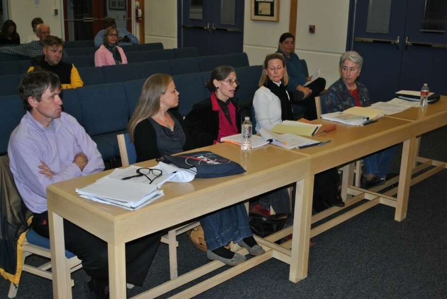 Members of Seabrook's Open Space Committee - from left: John Coggeshell, Heather Cable, Sally Antrobus, Debra Harper and Helen Burton - discuss the Parks Master Plan with the Seabrook City Council Tuesday, Feb. 7.