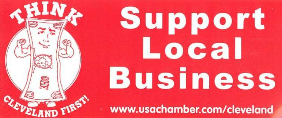 The Greater Cleveland Chamber of Commerce is promoting the importance of shopping local through a bumper sticker campaign. Alfred Anderson of Anderson Ford spoke about shopping local at the Feb. 5 noon luncheon of the Cleveland Lions Club and handed out the bumper stickers to the club's members.