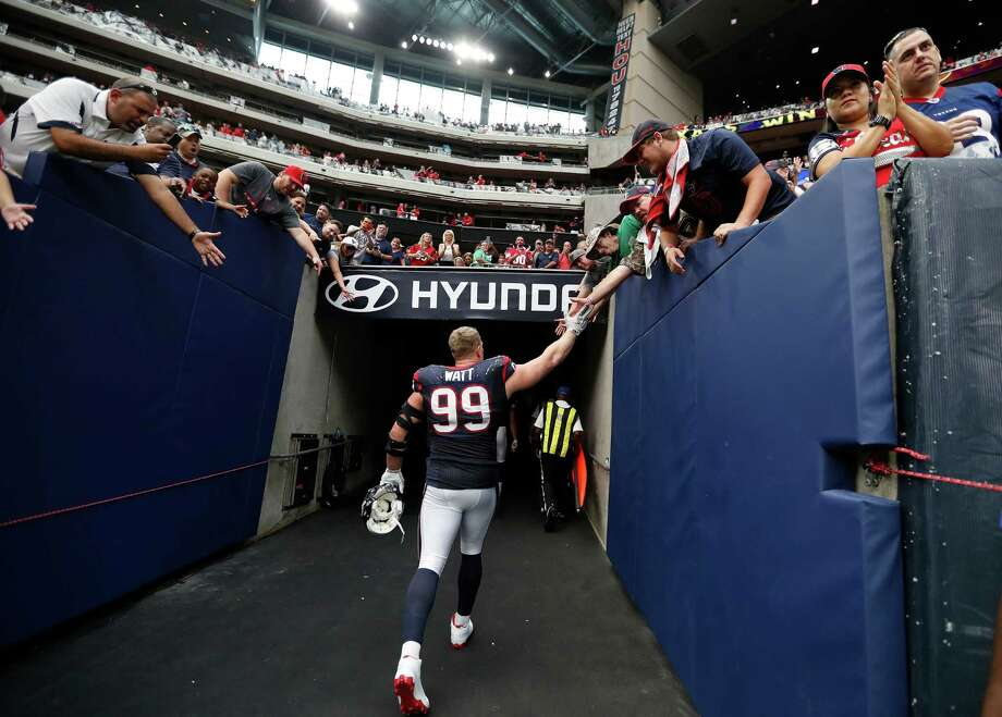 Texans defensive end J.J. Watt will possibly be saying goodbye to fans for the rest of the season after re-injuring his surgically repaired back. Watt is expected to be placed on injured reserve. Photo: Karen Warren, Staff Photographer / 2016 Houston Chronicle