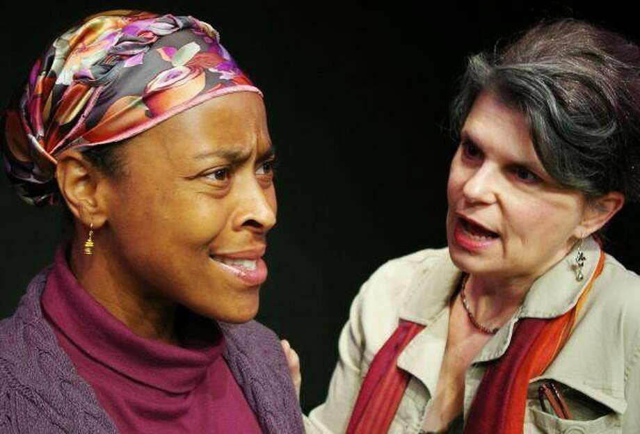 """Main Street Theater is producing Wendy Wasserstein's last play, """"Third,"""" a drama about a liberal college professor and her seemingly red-state student. The show is Aug. 30 to Sept. 21 at Main Street Theater - Chelsea Market, 4617 Montrose Blvd. Call (713) 524-6706 or visit www.mainstreettheater.com for tickets. Pictured is Professor Laurie James (Rebecca Greene Udden, right) with her colleague and friend Nancy Gordon (Rachel H. Dickson, left)."""