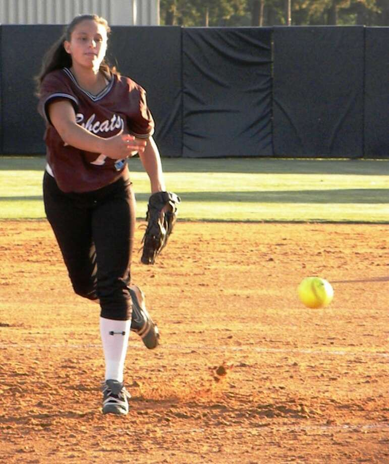 Cy-Fair freshman pitcher Laura Driskill competed on the mound in a 4-3, third round playoff loss to Spring Tuesday night. (Photo by Josh Hall)