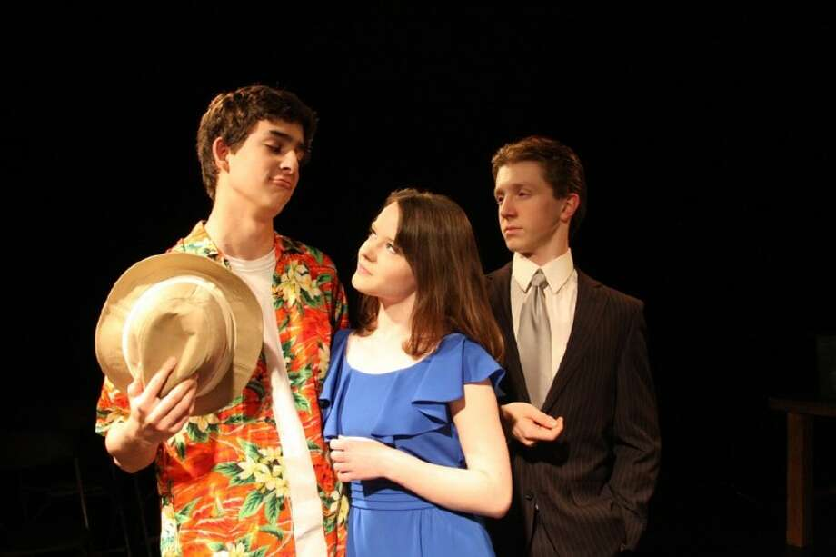 "Pictured left to right: Senior Billy Cohen as ""Freddy""; Junior Jennifer Laporte as ""Christine""; and Senior Forrest Surles as ""Lawrence"" are three of the leading cast members in EHS Onstage's upcoming musical ""Dirty Rotten Scoundrels."" (Photo submitted by Episcopal High School)"