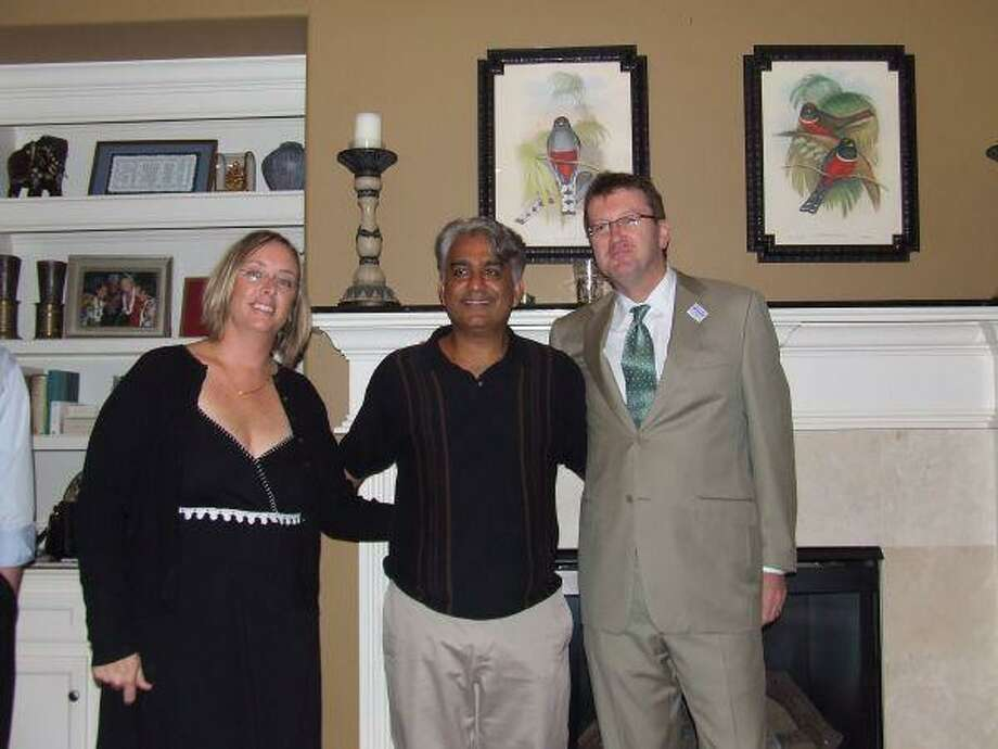 Michael Skelly, the Democratic candidate for U.S. Congressional District 7, at a recent house party with hosts Holly and Sandeep Seth. (Photo by Anne Marie Kilday/THE EXAMINER)