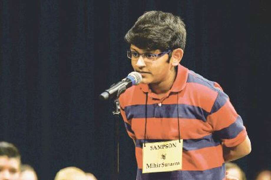 Sampson Elementary School fifth-grade student Mihir Suvarna won the Elementary Spelling Bee on Thursday at the Berry Center.