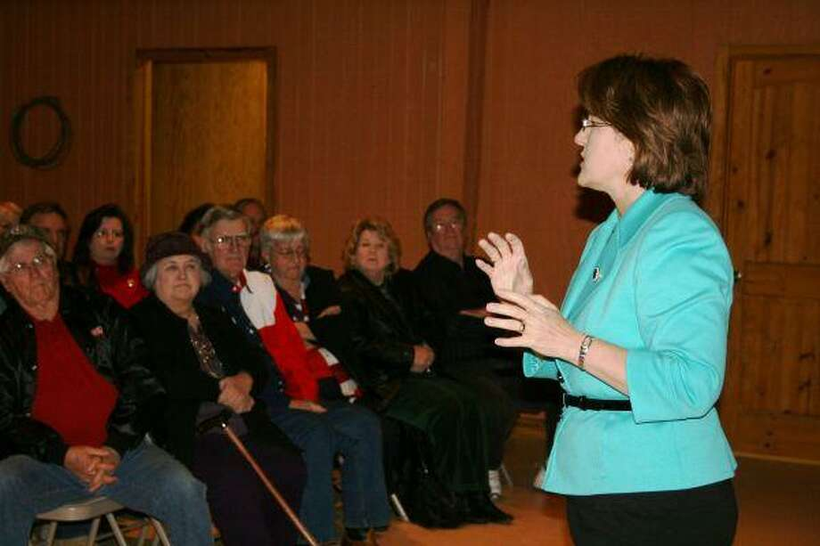 """Calling herself """"diametrically opposed"""" to her Republican opponents for Texas governor, Rick Perry and Kay Bailey Hutchison, Debra Medina talks to a group of people in Cleveland on Friday, February 12."""