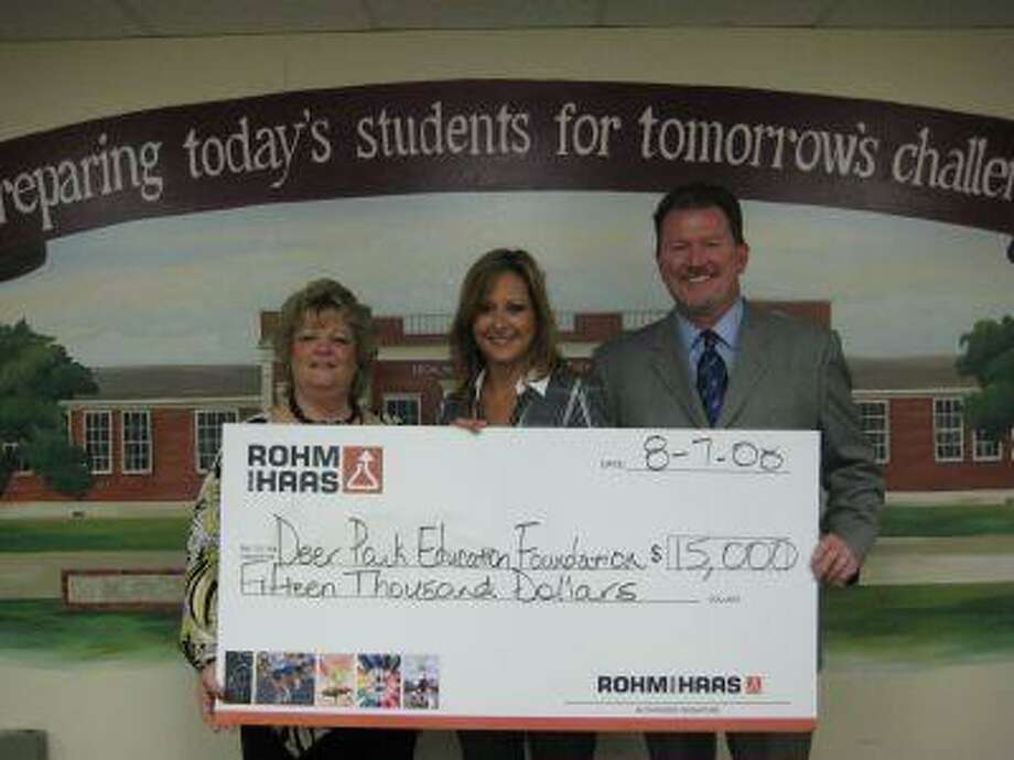The Deer Park Education Foundation recently received a 15,000 donation from Rohm and Haas Texas. Pictured left to right are Deer Park Education Foundation Coordinator Sheri Brown, Rohm and Haas Public Relations and Communications Manager Beth Dombrowa, and Deer Park Education Foundation Chairman of the Board Larry C. Johnson.