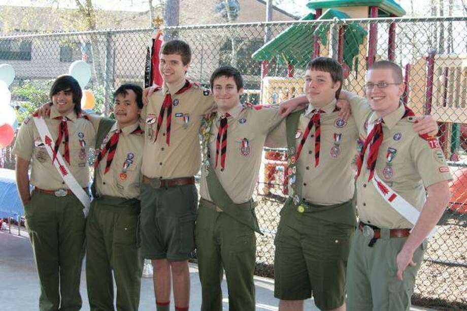 Six boy scouts of Troop 727 were recognized with their Eagle Scout award during a special ceremony Feb. 27. From right, Chris Claassen, Richard Chouffot, Tony Frey, Travis Gabel, Anthony Israel and Nicolae Rexer.