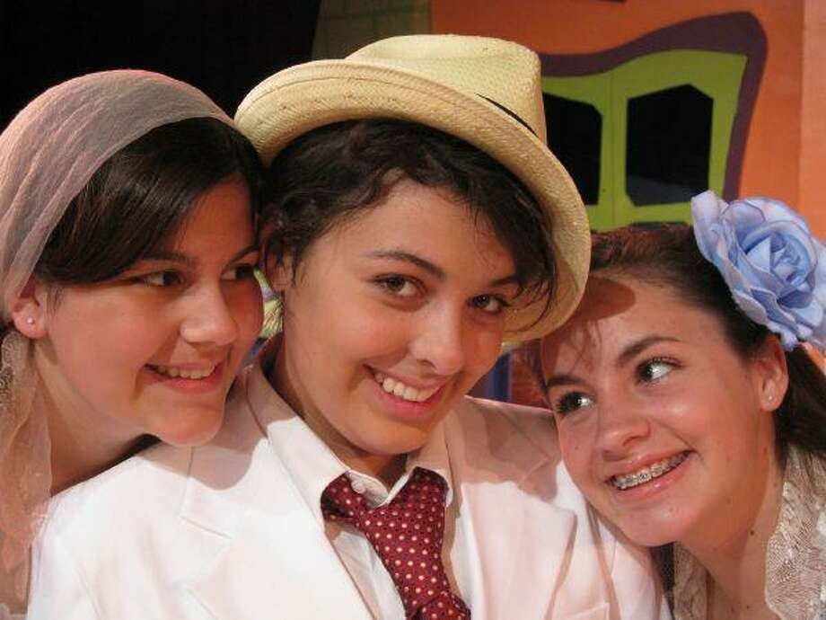Main Street Theater's Kids On Stage production of Scapino! May 8 - 10 at Main Street Theater - Chelsea Market, 4617 Montrose Blvd. 713.524.6706 or www.mainstreettheater.com. Pictured L-R are Zerbinetta (Paige Zubel), Scapino (Celeste Billington), and Giacinta (Mischa Catalani). Photo by Troy Scheid