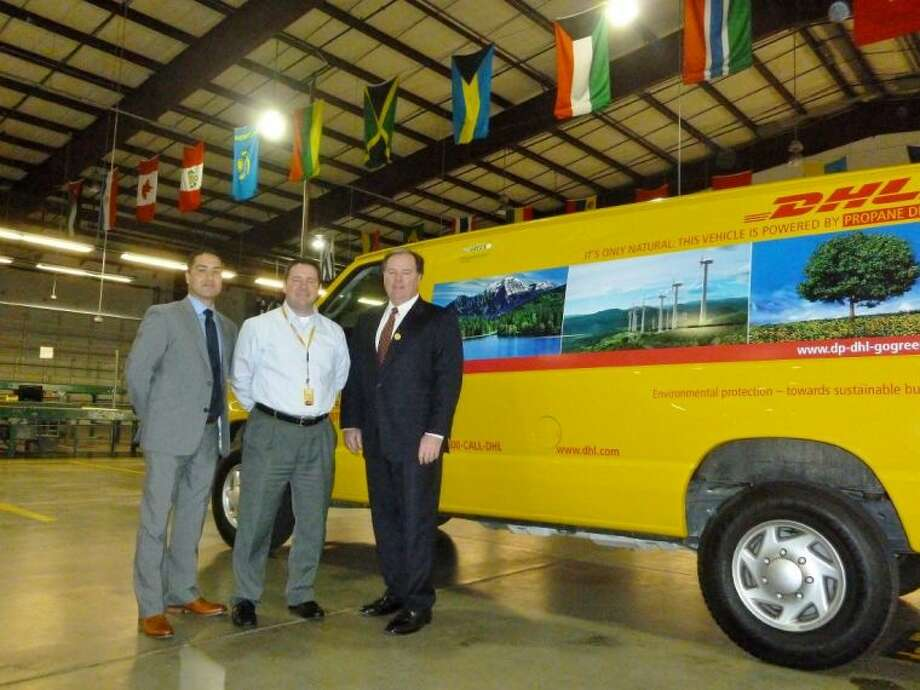 Area Sales Manager Christian Miranda, Area Operations Manager Jeff Billingsley and Vice President and General Manager John Fox introduces propane vehicles to their fleet.