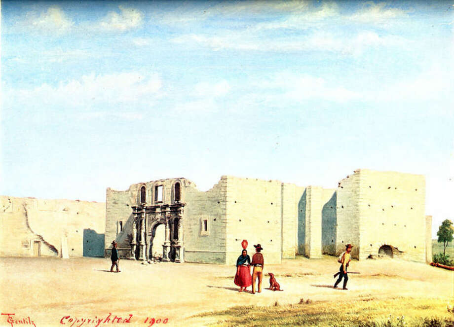 Painting of the Alamo (Mission San Antonio de Valero) by Castroville artist Theodore Gentilz, showing view of the unfinished church, ca. 1840s, following the siege of the Alamo. The church was used as part of the defensive fortifications during the battle. Gentilz painted all five of the San Antonio missions during the 1840s.