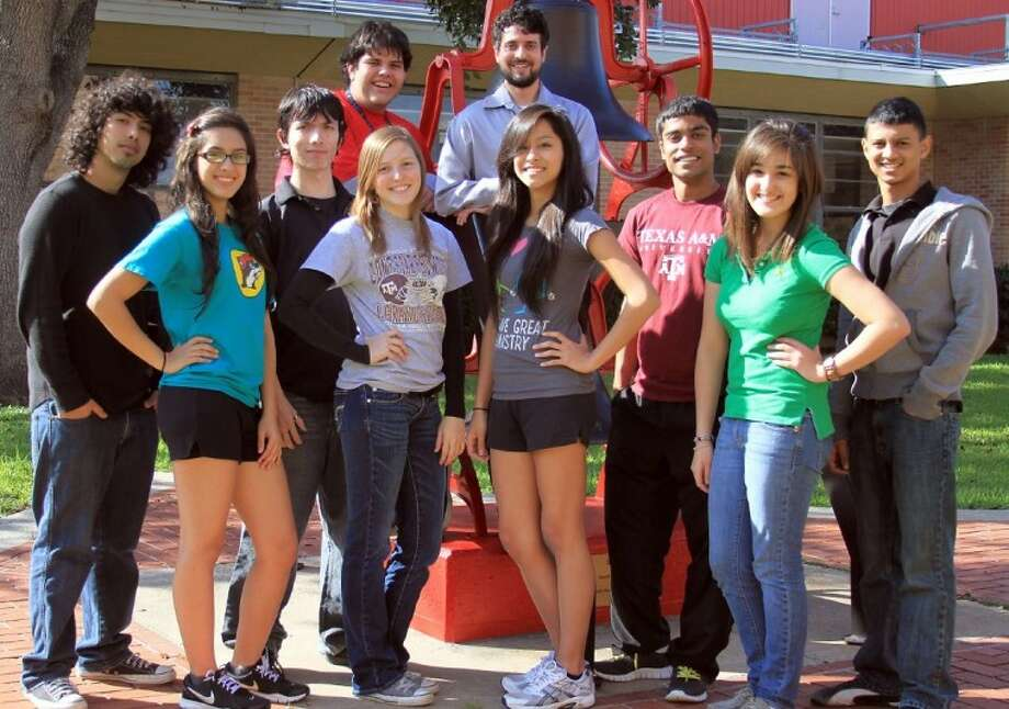 Matthew Koska (top center) with his South Houston Model U.N. team: (front) Selena Barron, Hannah Arnold, Karen Cruz and Olga Trevino; (middle) Mario Gonzalez, Alan Deleon, Meet Patel and Shivam Vakil; and (top left) Ulisses Gonzalez. Photo: AL CARTER