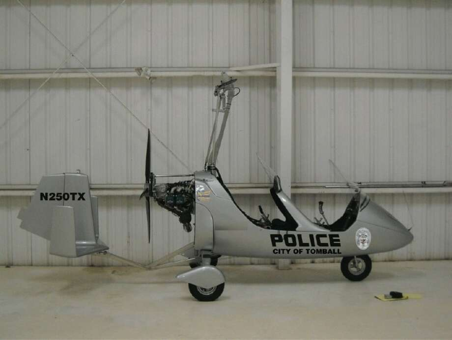 The Tomball Police Department's newest piece of equipment is the gyroplane aircraft, a light sport aircraft with one rotating wing that can only seat two. The aircraft will be used for such purposed as patrolling community events like the German Heritage Festival, assessing severe weather damage, and spotting parking lot car thefts.