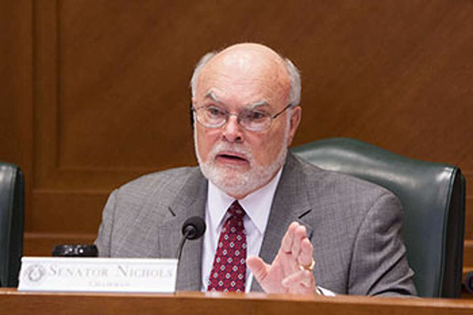 Chairman Sen. Robert Nichols of Jacksonville told colleagues the state must find a better way to pay for transportation costs at a meeting of the Senate Transportation Committee Wednesday. / Texas Senate Media Services