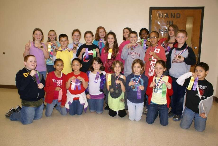 Coldspring Intermediate School students brought home medals and ribbons following participation in recent UIL District 22-AAA Academic competition. Winning individual and team competitions were, in the front row, from left, Clifton Maxwell, Destiny Thompson, Marissa Martinez, Makaila Berryman, Mikayla Lambert, Malin Patrick, Rylee Rudloff, Michael Trejo; middle row, Victoria Kennerly, Tristan Thomas, Hannah Morrison, Makenzie Taylor, Colby Muirhead, Jeromy Hardin, Bret Carter; and back row, Alissa Charlesworth, Adrianna Sweeten, Macy Harper, Taylor Walters, Sky Moss and Sydney McAuliffe. Photo: KIM ESTES