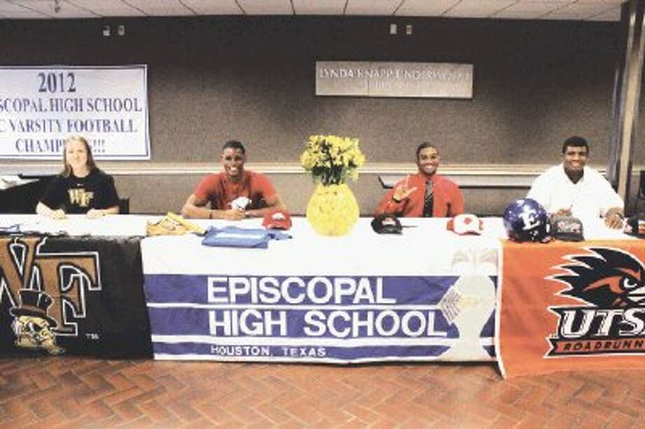 Four Episcopal senior athletes signed letters-of-intent last Wednesday on National Signing Day. From the left, Lindsay Graham, who is headed to Wake Forest to play field hockey; Curtis Brown, who will be attending the University of Arkansas to run track; Lloyd Julian, who is going to play football at Lamar University in Beaumont; and Austin Robinson, who has signed to play football at UTSA.