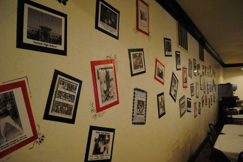 The heritage wall at Bootsie's Heritage Cafe showcases Tomball's heritage since 1910. On an adjacent wall, guests are invited to show off their own family's heritage and memorabilia. Old FFA and Tomball High School letter jackets hang around the restaurant.
