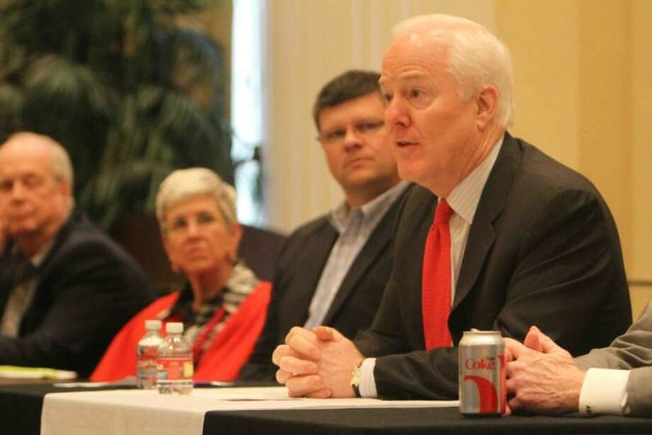 U.S. Sen. John Cornyn, R-Texas, meets with Montgomery County community and business leaders to hear about issues involving local communities during a roundtable at the Greater Conroe/Lake Conroe Area Chamber of Commerce offices Friday in Conroe.