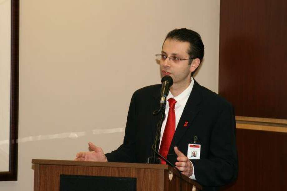 "Memorial Hermann Northeast Hospital cardiologist Dr. Charlie Gnaim speaks with the crowd about the importance of heart health and how to prevent heart disease and illness in honor of ""National Wear Red Day"" Feb. 5."
